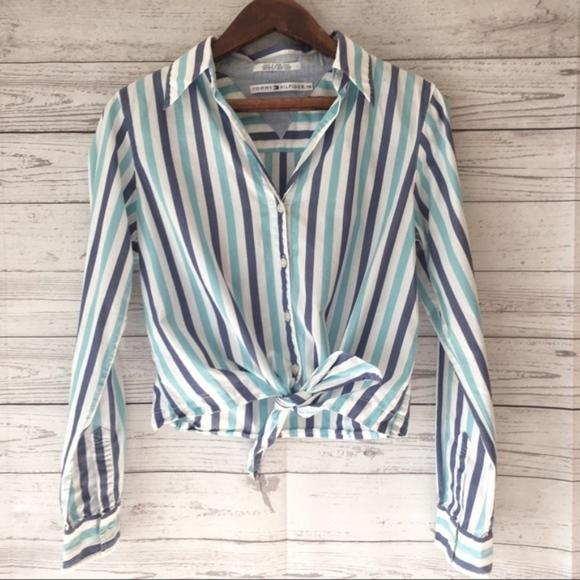 bb47140605d Tommy Hilfiger Tops | Stripe Front Knot Tie Button Shirt | Poshmark
